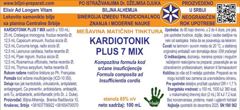 KARDIOTONIK PLUS 7 MIX Kompozitna formula kod srčane insuficijencije