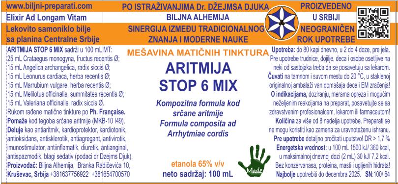 ARITMIJA STOP 6 MIX Kompozitna formula kod aritmije MKB-10 I49