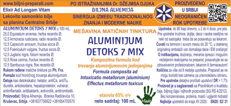 ALUMINIJUM DETOKS 7 MIX Kompozitna formula kod trovanja aluminijumom