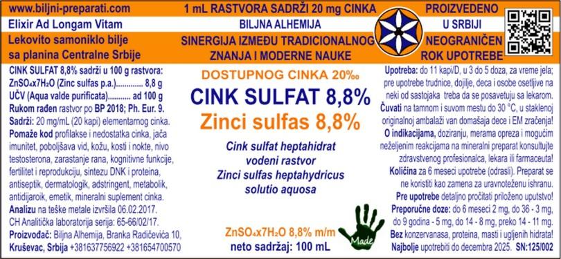 CINK SULFAT RASTVOR 8,8% Zinci sulfas heptahydricus solutio 8,8%