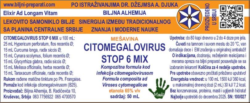 CITOMEGALOVIRUS STOP 6 MIX Kompozitna formula kod bolesti uzrokovane citomegalovirusom MKB-10 B25