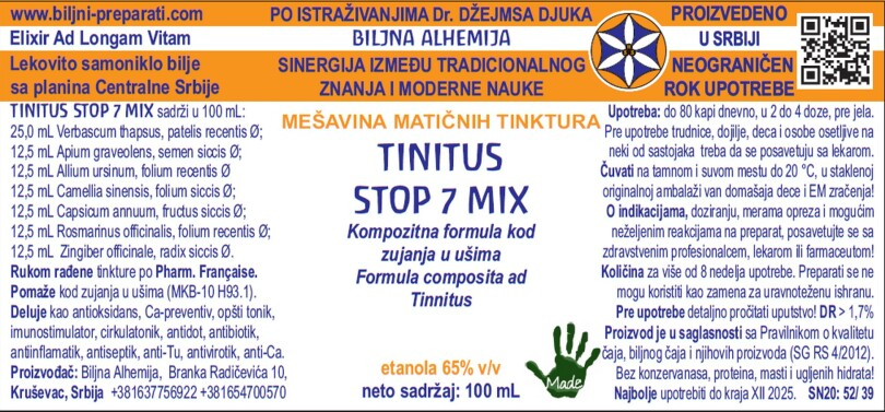 TINITUS STOP 7 MIX Kompozitna formula kod zujanja u ušima (Tinnitus ICD- 10 H93.1)