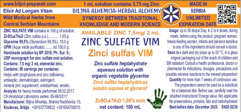 CINK SULFAT RASTVOR 1,65%  VIMER Zinci sulfas heptahydricus solutio 1,65% VIMER