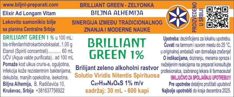 BRILLIANT GREEN – ZELYONKA – Solutio Viridis Nitentis Spirituosa, 1% skin solution