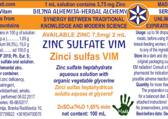 ZINC SULFAS 1,65 VIMER